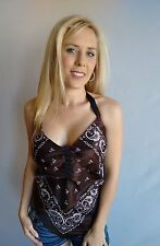 Brown Ladies Bandana Halter Top, Made in USA