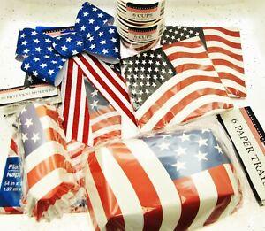 Patriot Flag Table Setting Party Picnic Stars Stripes Memorial Veterans July 4