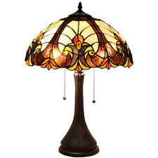 Bieye Tiffany Style Stained Glass 16-inch Victorian Table Lamp with Zinc Base