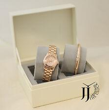 New Michael Kors Petite Pave Runway Rose Gold Watch & Bracelet Set MK3626