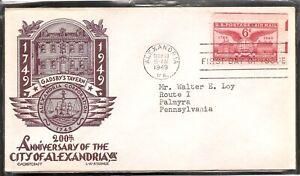 US SC # C40 Alexandria Bicentennial FDC. L.W. Staehle Cachet Craft