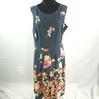 Lands End Linen Sleeveless Dress Womens Plus Size 16 Blue Floral Print