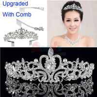 Bridal Wedding Rhinestone Crystal Tiara Hair Band Princess Prom Crown w/ Comb