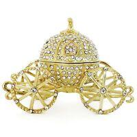VI N VI Gold Rhinestone Princess Cinderella Crystal Pumpkin Carriage Trinket Box