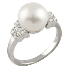 Fancy sterling silver ring with 9-10mm button shape freshwater pearls RS-152