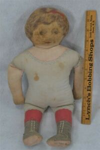 old early cloth printed doll Art Fabric Mills pat 1900s 18 in. original vg