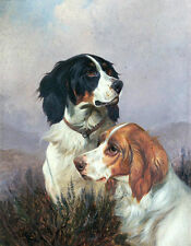 Large Oil painting favourite pet dogs in landscape free postage no framed canvas