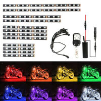 12Pcs Motorcycle RGB 120LED Neon Under Glow Lights Strip Kit NEW