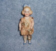 SWEET!~Antique German Bisque Dollhouse Doll~Molded Bow & Braided Hair Side Buns