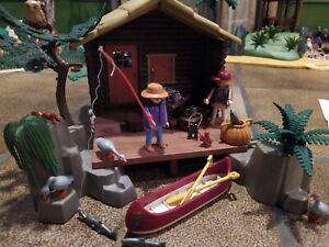 Playmobil 3826 Fischerhütte Blockhaus Blockhütte Fische Angler vollständig
