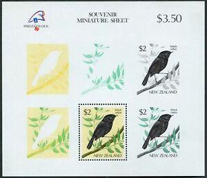 New Zealand 769a,MNH.Michel Bl.18. Bird Black Robin.PHILEXFRANCE-1989.