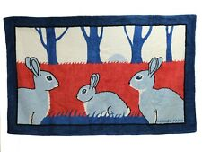 Authentic HERMES Beach Pool Towel Blanket Rabbit Navy Red White Color from JPN