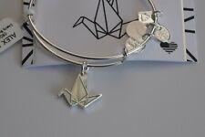 Alex and Ani Paper Crane Healing Bracelet Charm Logo Expandable Wire Silver NWT
