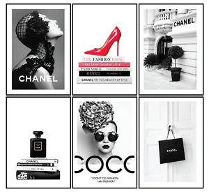 Set of 6 Perfume Bottle Fashion Art Vogue Designer Deco Print Home Gift  A4 A3