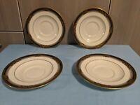 Set of 4 Saucers, MINT Noritake Spell Binder, Bone China 9733 Black and Gold