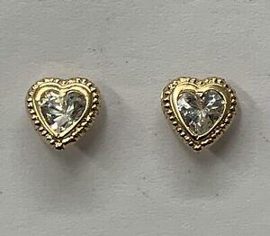 9ct Yellow Gold Heart Shape Cubic Zirconia Stud Earrings