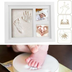 Hand & Foot Print Clay Cast Kit 2 Photo Picture Frame Christening Gifts For Baby