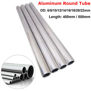 6-22mm OD Aluminum 6063 Alloy Tube Round Straight Pipe 2mm Wall 400mm/500mm Long