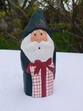 "Retired Eddie Walker Midwest Carved Green Santa Holding Present 5"""