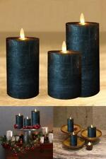 Black Flameless Candles set of 3 Battery Operated,Moving Flame,LED Pillar Candle