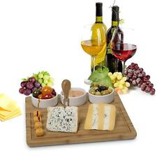 Bamboo Cheese Board And Meat Serving Platter - With 3 Removable Ceramic Bowls