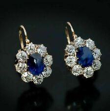 3Ct Oval Cut Blue Sapphire Diamond Huggie/Drop Earrings 14K Yellow Gold Finish