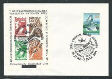 1984 Austria rocket mail commemorative cover - Schmiedl stamps, Xxv Cospar, Graz