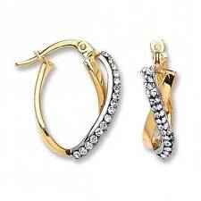 Leverback Crystal Yellow Gold Plated Hoop Costume Earrings