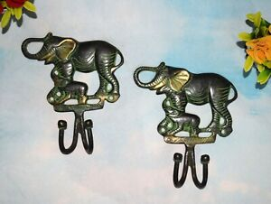 Pair Of Hooks Brass Elephant With Baby Wall Hook 2 In 1 Style Animal Theme EK383