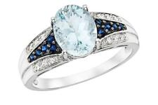 Simulated Blue Topaz, Sapphire & Clear CZ Ring in 925 Sterling Silver Size 7