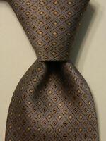CORNELIANI Men's 100% Silk Necktie ITALY Luxury Geometric Gray/Brown/Blue EUC