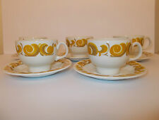 5 x Vintage Crown Essex Ironstone Cups and Saucers Tiara Retro Style Lovely