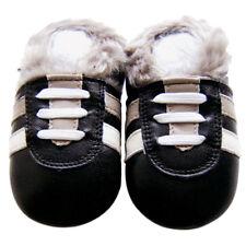 Littleoneshoes Leather Baby Shoes Boy Girl Infant Kid Gift SportBlackFur 30-36M