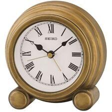 Seiko QXE052G Antique Finish Mantel Alarm Clock Gold