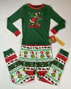 Dr. Seuss The Grinch Christmas Pajama Set Size 10 M Green Red Long Sleeve Unisex
