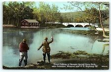 Postcard MO Lebanon Trout Fishing Bennett Spring State Park Route 66 C1