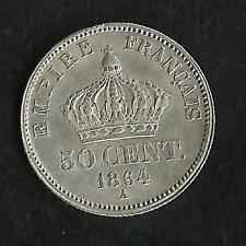 50 ct Argent Napoleon III 1864 A Tête Laurée SUP