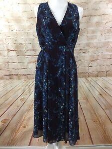 Cabi Style 3461 Treasure Wrap Paisley Blue Purple Sleeveless Dress w/ Pockets 6