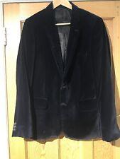 BNWOT River Island Mens Black Velvet Suit Jacket UK M Lined