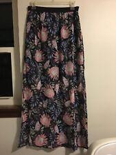 H&M Divided 8 Maxi Long Sheer Chiffon Floral Mini Black Slip Side Slits Skirt