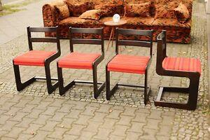 TRUE VINTAGE 4x STÜHLE 70er Set Stühle Holz Dunkel Orange gestreiftes Polster