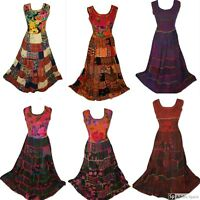 Unique Multicolored Long Fairtrade Patchwork Dress Boho Hippie free size 8/10/12