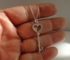 925 STERLING SILVER HEART KEY PENDANT NECKLACE W/ .50 CT ACCENTS/18'' CHAIN