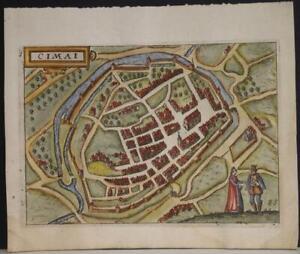 CHIMAY BELGIUM 1613 GUICCIARDINI UNUSUAL ANTIQUE COPPER ENGRAVED CITY VIEW