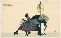 2 Bayern Bavaria stamps on Falto Silhouetten postcard (von Marte Graf) 1910s