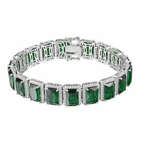 Solid 925 Sterling Silver Green Ruby Solitaire Lab Simulated Diamond Bracelet