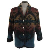 Woolrich Womens S Aztec Navajo Wool Button Coat Blanket Jacket Southwest USA