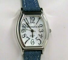 Denim & Co. Quartz Sterling Silver Case Mother Of Pearl Face Leather Watch