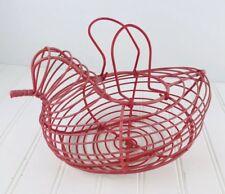 Metal Wire Chicken Hen Bird Egg Basket Vintage Red