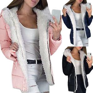 Womens Winter Warm Fleece Fur Lined Coat Parka Hooded Jacket Outwear Overcoat